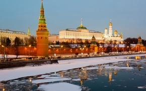 Картинка лед, зима, Russia, Moscow, Кремль, city, Россия, Москва, Kremlin, река