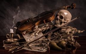 Картинка скрипка, череп, свеча