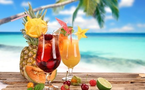 Обои strawberry, glasses, food, fruits, cocktail, cherry, lime, коктейль, cocktails, pineapple, summer, melon, лето, coconut