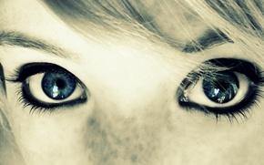 Картинка глаза, девушка, лицо, веснушки