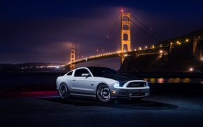 Картинка Mustang, Ford, Muscle, Car, Front, Bridge, White, River, Collection, Aristo, Top, Nigth