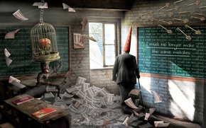 Картинка человек, класс, доска, парта, колпак, Dunce, больная фантазия автора