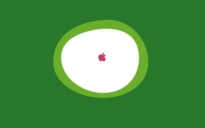 Картинка белый, зеленый, фон, значок, apple, яблоко, круг, минимализм, логотип, овал