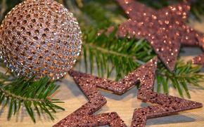 Обои шарик, блеск, ветки, рождество, игрушки, звёзды, праздник