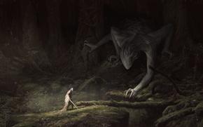 Обои лес, деревья, ветки, человек, мох, меч, существо, арт, Fantasy, плащ