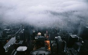 Обои Architecture, Landscape, Fog, Clouds, City, Scape, Chicago