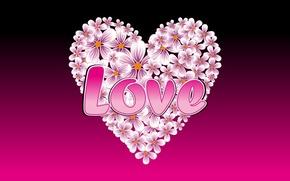 Картинка любовь, надпись, сердце, love, цветочки, LOVE