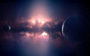 Обои планета, свечение