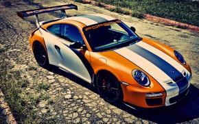 Картинка оранжевый, 911, Porsche, порше, GT3, orange