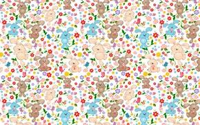 Картинка цветы, птицы, узор, яйца, Пасха, кролики