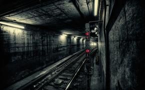Обои свет, город, метро, поезд, тоннель, подземка