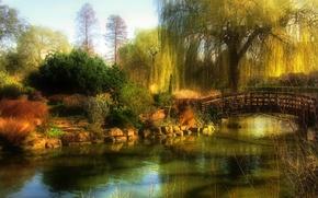 Картинка осень, небо, деревья, пейзаж, мост, пруд, парк, камни, сад, дымка, кусты