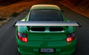 Обои 911, дорога, gt3, porshe, зелёный