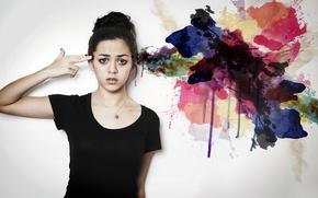 Картинка поза, краски, девушка, ситуация