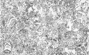 Обои китай, драконы, узор, чёрно-белое, бумага
