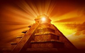 Картинка солнце, лучи, закат, пирамида