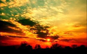 Картинка солнце, закат, Облака