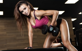 Картинка female, workout, fitness, dumbbell, bodybuilder