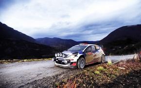 Картинка Ford, Вечер, Авто, Горы, Спорт, Свет, Форд, Гонка, Фары, WRC, Rally, Ралли, Fiesta