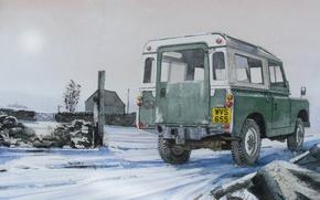 Картинка дорога, машина, рисунок, внедорожник, Land Rover, живопись