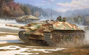 Картинка war, art, painting, ww2, panzer, german tank, Panzerkampfwagen E25