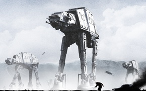 Картинка робот, star wars, art, walker, The Empire Strikes Back, Star Wars: Episode V - The …