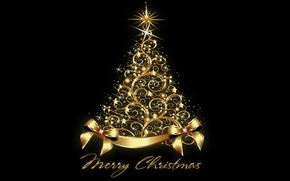 Картинка елка, Новый Год, Рождество, golden, tree, New Year, Merry Christmas, xmas