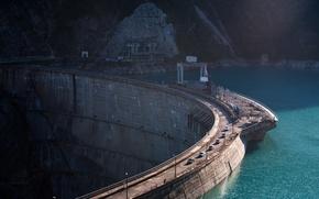 Картинка пейзаж, река, обои, плотина, электричество, электростанция, wallpaper, дмитрий чистопрудов, грузия, гэс, Гидроэлектростанция