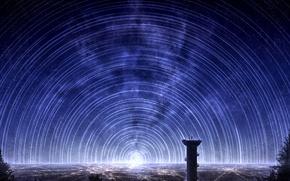 Картинка небо, космос, звезды, город, огни, люди, арт, arsh