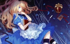 Картинка девушка, карта, корона, Алиса, книга, Алиса в стране чудес, art, Alice, Dhiea, Alice wonderland