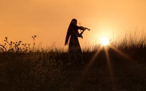 Картинка вечер, настроение, девушка, силуэт, поле, лучи солнца, трава, скрипка, платье, закат