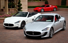 Картинка белый, трава, цветы, красный, серый, Maserati, silver, red, white, grass, кабриолет, отель, ferrari, феррари, f430, …