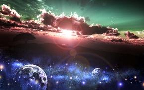 Картинка земля, планеты, арт, природа, дерево, y-k, солнце, небо, звезды, облака, закат