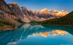 Обои утро, озеро, горы, деревья, Канада, лес