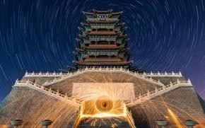 Картинка звезды, hdr, Китай, пагода, Пекин