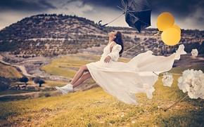 Картинка девушка, ветер, шары, зонт, The Flying Bride