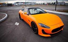 Картинка Maserati, кабриолет, 2012, мазерати, orange, Convertible, Gran Turismo, V-8, SR Auto Group, Atomic