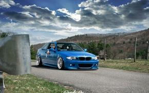 Картинка тюнинг, bmw, бмв, wheels, blue, tuning, power, germany, low, stance, e46