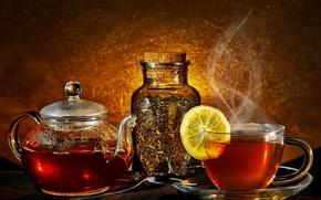 Картинка лимон, чай, чайник, пар, ложка, чашка, заварка, баночка