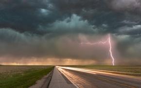 Картинка дорога, тучи, молния
