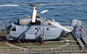 Картинка палуба, вертолёт, многоцелевой, Ка-27, корабельный