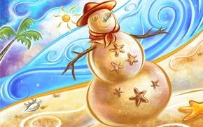 Картинка песок, море, пляж, жара, новый год, снеговик, ракушки, снеговик из песка