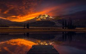 Картинка небо, вода, деревья, пейзаж, горы, вечер, сумерки