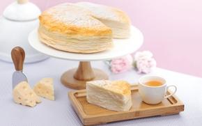 Обои чай, сыр, пирог, выпечка