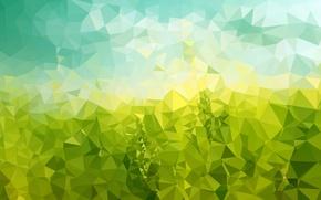 Картинка поле, небо, трава, линии, бумага, жёлтый, голубой, треугольники, текстура, луг, изгиб, угол, грани, зелёный, геометрия, …