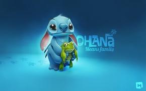 Обои Стич, лягушка, Stitch, frog