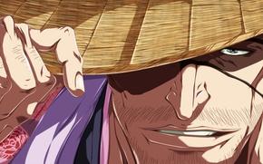 Картинка game, bleach, hat, anime, man, face, captain, eye, asian, hand, manga, japanese, kimono, oriental, asiatic, …