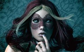 Обои взгляд, маска, фон, Девушка, волосы