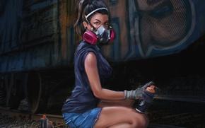 Картинка взгляд, девушка, граффити, краска, арт, вагон, Аэрозольная краска