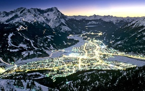 Обои огни, горы, зима, Германия, Бавария, Гармиш-Партенкирхен, долина
